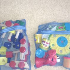 I found these lingerie laundry bags at the Dollar Tree. They work great for keeping all the parts to my little boy's playsets together!