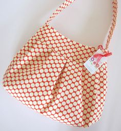 Pleated Hobo Sling Bag Purse - Tote Bag - Hailey - Amy Butler's Full Moon Dots.