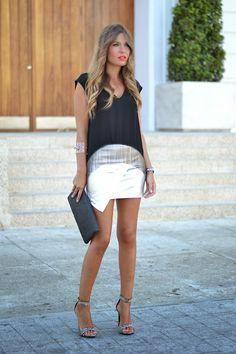 abaday Metalic Asymmetric Silvery PU Skirt - Fashion Clothing, Latest Street Fashion At Abaday.com