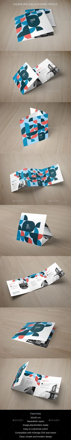 Square Red & Blue Modern Trifold - #Brochures #Print Templates Download here: https://graphicriver.net/item/square-red-blue-modern-trifold/20021957?ref=alena994
