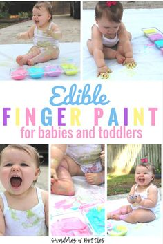Edible finger paint made from just two ingredients: Yogurt + a few drops of food coloring! A great sensory activity for babies and toddlers!