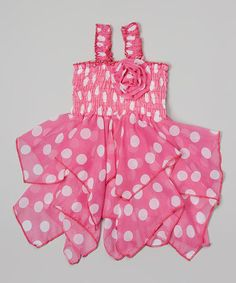 This Pink  White Polka Dot Handkerchief Dress - Toddler  Girls by Lele for Kids is perfect! #zulilyfinds