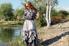 """Купить Юбочка """"Между небом и землей.."""" для Татьяны (лилии) - комбинированный, в клеточку, длинная юбка"""