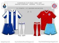 FC Porto 2 Bayern Munich 1 in May 1987 in Vienna. Scorecard for the European Cup Final.