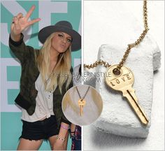 Kelsea Ballerini Style Neverland VIP | Long Island, NY | September 1, 2016 The Giving Keys'Classic Necklace' - $42.00 How adorable is it that Kelsea has a Giving Keys necklace with'FLY AWAY' written on it?! I'm not sure how many different keys she owns, but this one is definitely the best! If you want one like hers, it only costs an extra $5 to request! Worn with: Olympia Activewear tee, Sanctuary jacket, Rag & Bone shorts, Steve Madden sneakers, Brixton hat