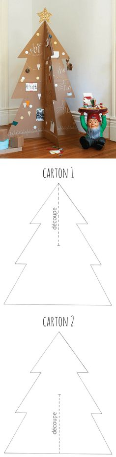 Un sapin de Noël original, récup' et pas cher avec du carton