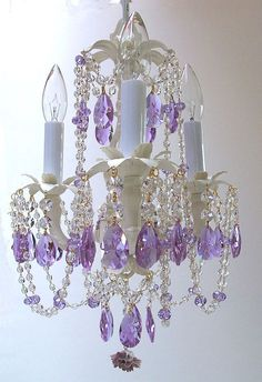 Pink lydia chandelier new house pinterest chandeliers room purple crystals on chandelier aloadofball Images