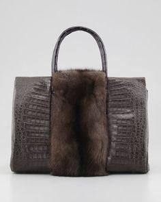 Small Sable Fur-Stripe Crocodile Tote Bag, Brown by Nancy Gonzalez at Bergdorf Goodman. $6800