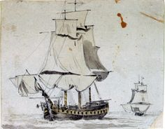 Port bow view of a packet or naval sloop - National Maritime Museum