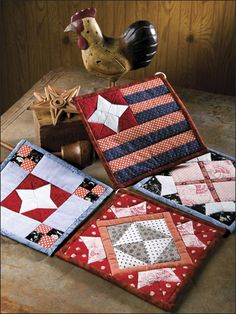 Red white and Blue small squares or potholder patterns $3.98