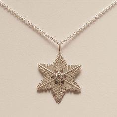 """Starlet"" Snowflake Pendant with Diamond #pendant #snowflake #AmericanCharm"