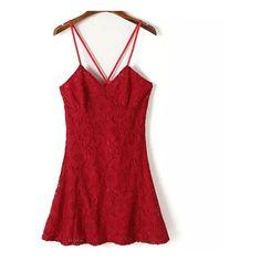 deep v-neck cross stripes sleeveless lace dress (1.140 RUB) ❤ liked on Polyvore