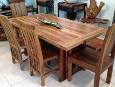 Etonnant Reclaimed Teak Dining Table With Custom Steel Trestle, 3 Foot X 5u0027 6