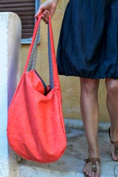 red jean / white blue striped bag. double sided with zipper