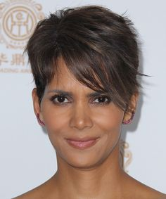 Halle Berry Hairstyle - Short Straight - Dark Brunette. Click to try on this hairstyle and view hair info and styling steps!