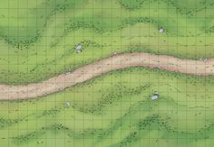 The Grassy Path, a battle map for D&D / Dungeons & Dragons, Pathfinder, Warhammer and other table top RPGs. Tags: wilderness, road, plains, grass, yawn