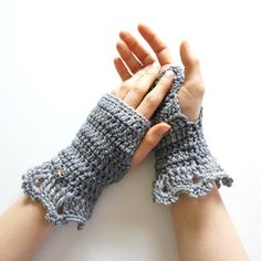 Metallic elegant hand warmers in dark gray, glitter yarn trim at... ($25) ❤ liked on Polyvore featuring accessories