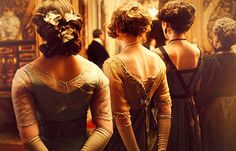 Back of dresses not oft found. Downton Abbey, #Vogue, Lady Sybil Crawley, Lady Edith Crawley, Lady Mary Crawley, Michelle Dockery, Jessica Brown Findlay, Laura Carmichael, #sisters, #PBS
