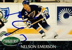 Nelson Emerson St. Louis Blues Autographed 1992-1993 Parkhurst Card # 152 SL COA . $5.00. St. Louis Blues CenterNelson EmersonHand Signed 1992-1993 ParkhurstHockey Card# 152.GREAT AUTHENTIC HOCKEY COLLECTIBLE!!AUTOGRAPH AUTHENTICATED BY SPORTS LOT AUTHENTICATIONS WITH A SPORTS LOT NUMBERED AUTHENTIC STICKER ON ITEM.SL SOA # 12780ITEM PICTURED IS ACTUAL ITEM BUYER WILL RECEIVE.