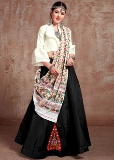 #black #embroidery #navaratri #lehenga #choli #dupatta #designs # traditional #indian #outfits #gorgeous #wedding #look #ootd #new #arrival #womenswear #online #shopping Lehenga Dupatta, Choli Designs, Silk Material, Colourful Outfits, Colorful, Off White Color, How To Dye Fabric, Kimono Top, Fashion Outfits