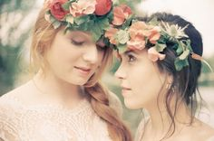 brides in floral crowns