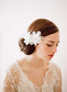 Bridal silk hair flowers small Silk organza blossom by myrakim