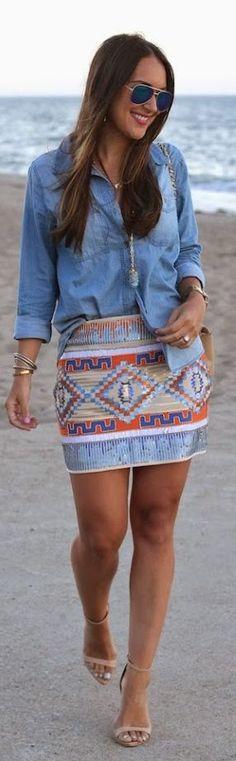Sequin Skirt Summer Style women fashion outfit clothing style apparel @roressclothes closet ideas