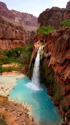 Hiking Discover Havasupai Tribe Supai Arizona by Bernini Easy to lose track of how many waterfalls we saw in this hike in the Grand Canyon. Discovered by Bernini at Havasupai Tribe Supai Arizona Places Around The World, Oh The Places You'll Go, Places To Travel, Places To Visit, Camping Places, Travel Destinations, Vacation Ideas, Vacation Spots, Vacation Packages