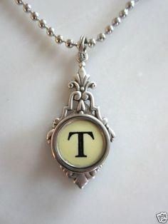 Antique Vintage Typewriter Keys Key Necklace Pendant Letter T | eBay