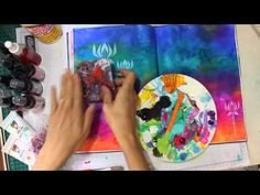 Fluid Acrylics + Stamps -Advice from a Dog Mixed Media Art Journal - YouTube