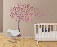 Kids Room Decor Wall Decals - Kids Wall Decal Cherry Blossom Decal Nursery Decor Nursery Art Baby Girl Baby Shower Gift Pink Grey Nursery