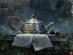 "Tea Pot with Cherries by Larry Clingman Oil ~ 9"" x 12"""