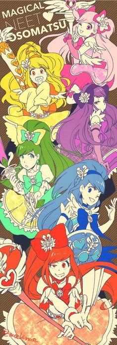 Why do they look like they're from glitter force/doki doki or Loli rock All Anime, Manga Anime, Anime Art, Glitter Force, Ichimatsu, Otaku, Pretty Cure, Magical Girl, Shoujo