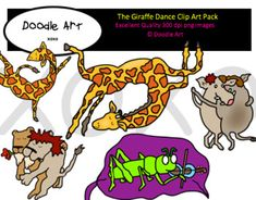 """This """"The Giraffe Dance"""" Clipart collection includes all the images shown in the sample picture and more. This grouping is a parody of the book The Dancing Giraffe. They are adorable!  This pack includes 16 different clips:* Black line masters of all clips* Dancing* Giraffe* Lions* Hogs* Fun!* etc.Graphics come in PNG format 300 dpi format.My graphics are suitable for printing and digital projects and can be easily re-sized smaller to suit other needs, graphics measure different sizes and…"""