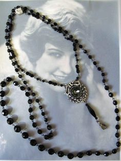 Downton Abbey Inspired Black Flapper Duo Necklace Set with Pendant
