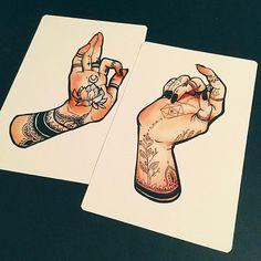 Tattooed Hand Print Set from Jacquelin de Leon Illustration Dibujos Tattoo, Wow Art, Hand Tattoos, Flash Tattoos, Art Tutorials, Art Inspo, Art Reference, Amazing Art, Art Drawings