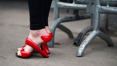 Julian Hakes London / red twisted sandals.