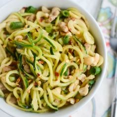 Dan Dan Zoodles - zucchini noodles with pork and a spicy tahini sauce!
