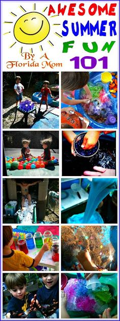 Summer boredom busters and summer outdoor play ideas for babies, toddlers, preschoolers, school age kids, and teens outdoor fun Awesome Summer Fun 101 Summer Activities For Kids, Summer Kids, Toddler Activities, Games For Kids, Fun Activities, Childcare Activities, Activity Ideas, Summer School, Spring Summer