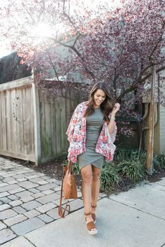 Spring Outfit Idea via Glitter & Gingham // Ft. Anthropologie Floral Kimono, the best bodycon dress ever, Madewell Transport Tote, Steve Madden Espadrille Wedges // Spring Outfit Inspiration