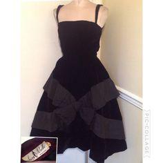 Vintage 1950s Suzy Perette velvet gown dress