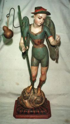 "Talla ""San Rafael Arcangel colonial Quiteño siglo XVIII:"