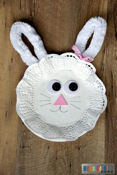 Easter Bunny Paper Plate and Doily Craft for Kids - Easy and Inexpensive Kid Crafts
