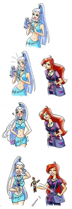Coincidence by Zoratrix on deviantART. Icy, Bloom, and their monster high dolls :)<< that actually seems nice because they have something in common and they seem to be nice to each other about it Monster High Art, Monster High Dolls, Teen Titans, Las Winx, Bloom Winx Club, Funny Tattoos, Art Tattoos, Animated Cartoons, Princesas Disney