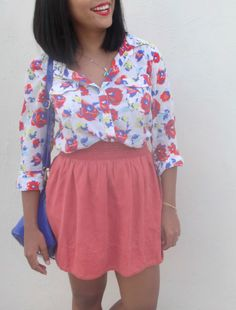 Spring outfit, flower pattern, red skirt