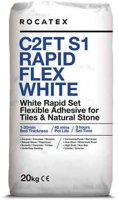 Always FREE DELIVERY with our pallet deals and bulk buy at BUY THE PALLET.Great price pallet deals on ROCATEX C2FT S1 Rapid Flex White Tile Adhesive - a single part, flexible wall and floor tile adhesive for fixing natural stone and tiles including ceramics, porcelain and mosaics to a variety of substrates. Sutable for interior and exterior use. #rocatex #palletdeals #tileadhesive #freedelivery #buythepallet Electric Underfloor Heating, Adhesive Tiles, Tongue And Groove, Wire Brushes, Wall And Floor Tiles, White Tiles, Heating Systems, Mosaics, Free Delivery