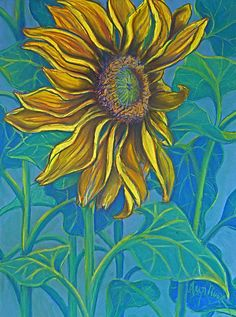 Sunflower Drawing in Pastel Pastel  - Sunflower Drawing in Pastel Fine Art Print