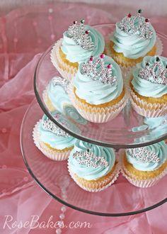 Princess Cupcakes with Tiaras on Stand
