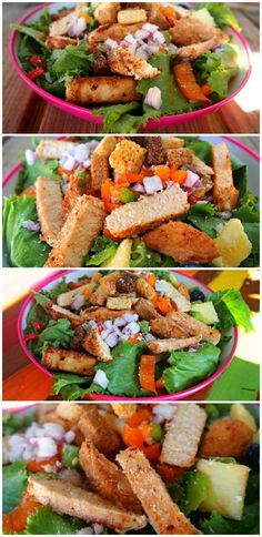 """Healthy Glazed Pineapple Chicken Salad. another pinner said:This was good. Make sure to drain the crushed pineapple so it is more like a """"glaze."""" The glaze prevents it from needing any dressing."""