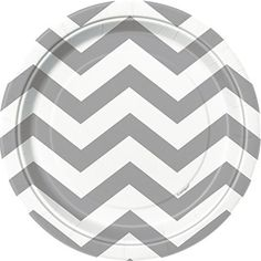 Add a touch of elegant charm to any special occasion with these Silver Chevron Dessert Plates. Use these paper plates to pass out slices of decadent cake at the end of a milestone birthday party, anniversary party, or holiday dinner. Or, simply leave a stack of them out on a dessert bar or snack... - http://kitchen-dining.bestselleroutlet.net/product-review-for-silver-chevron-paper-cake-plates-8ct/